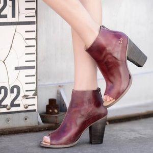 Bed stu onset peep toe leather boots